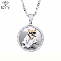 lovty Custom Made Photo Medallions Necklace & Pendant With 4mm Tennis Chain Cubic Zircon Gold Silver Color Men's Hip hop Jewelry