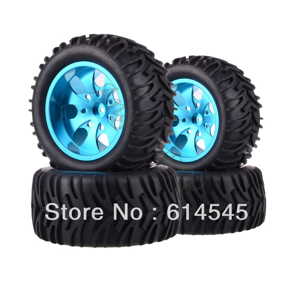 цена на DQR 4x RC Monster Truck Bigfoot Metal Wheel Rim & Tyre Tires 12MM HEX 88111 1:10 RC123 Store