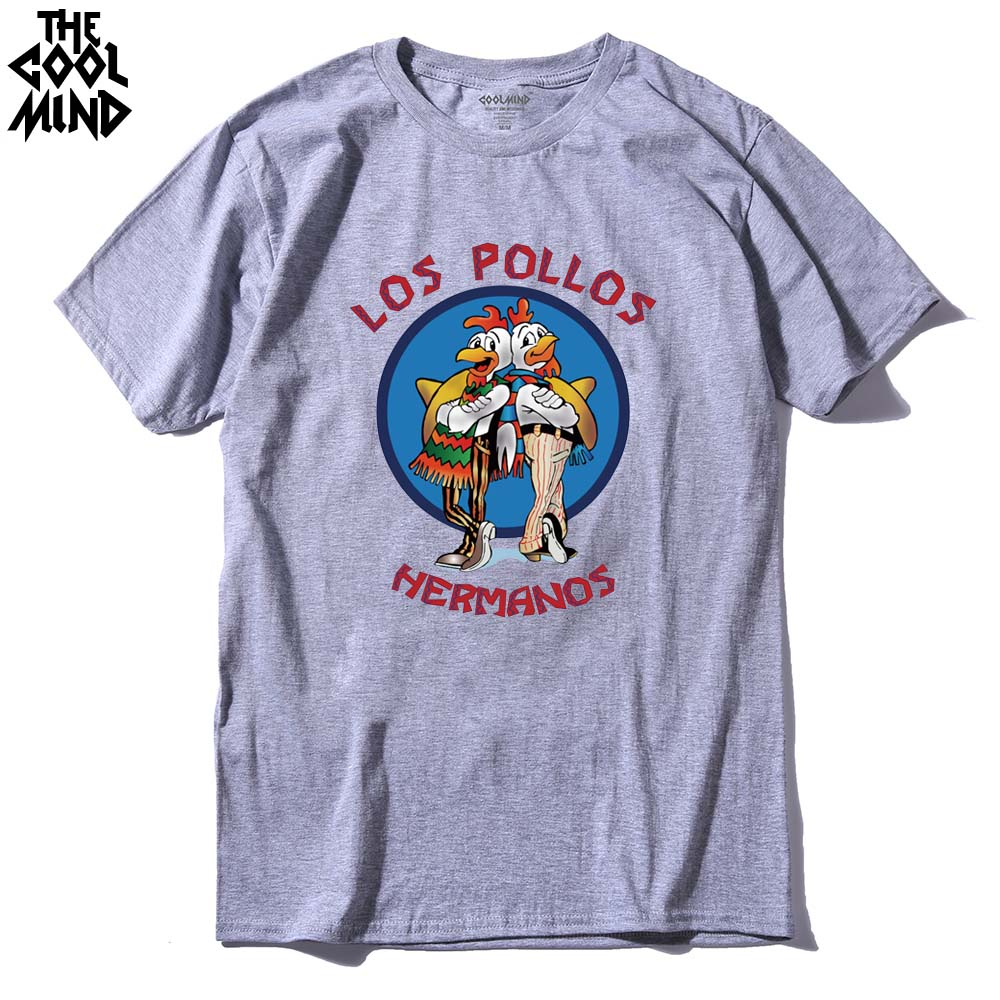 COOLMIND LO0111A 100% cotton short sleeve los pollos print men   T     shirt   casual o-neck summer men Tshirt loose cool men   T  -  shirt
