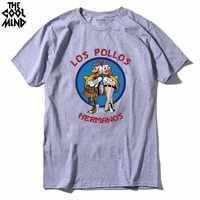 COOLMIND LO0111A 100% de algodón de manga corta con estampado de los pollos para hombres camiseta casual de verano con cuello redondo para hombres Camiseta holgada cool para hombres