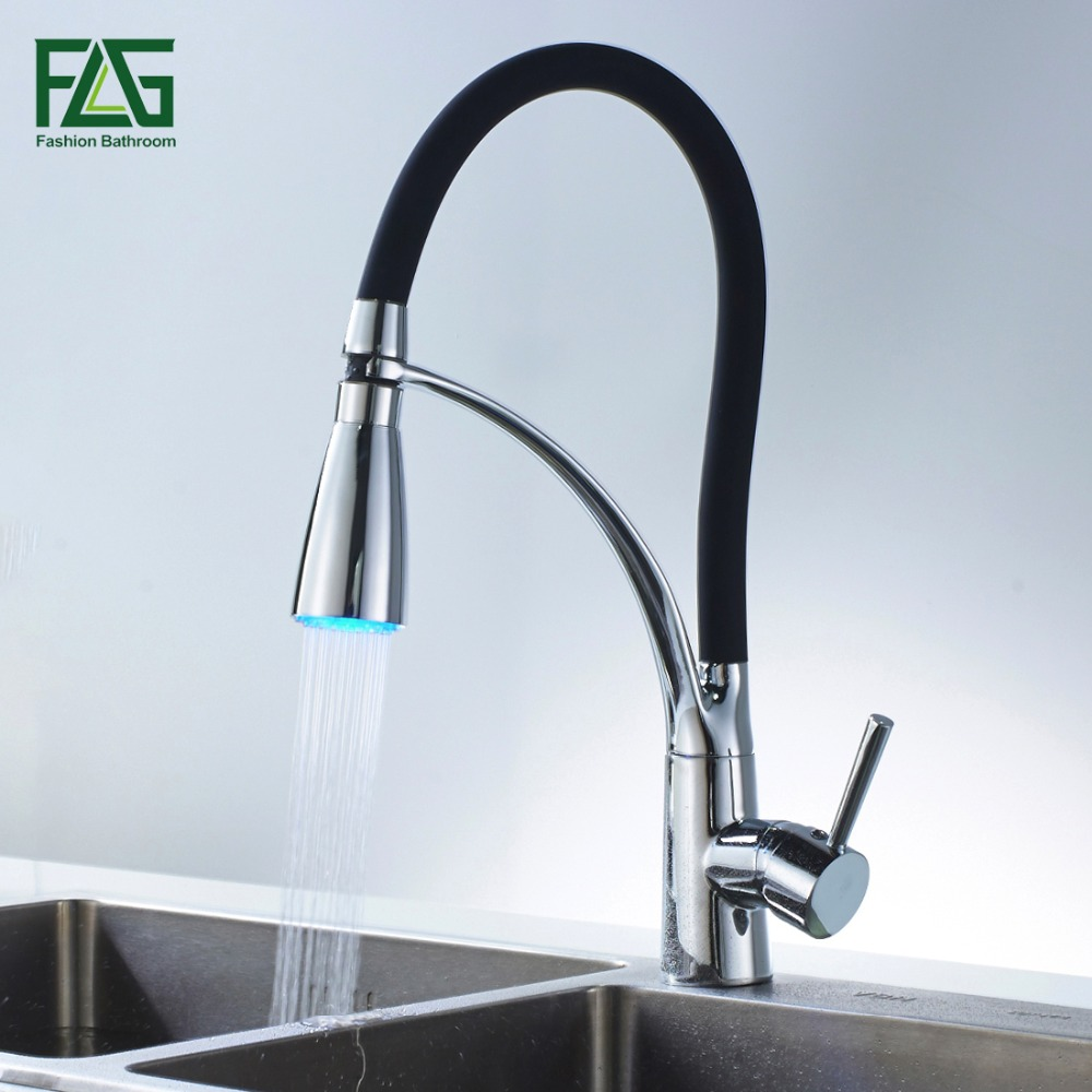 FLG Black and Chrome Finish Kitchen Sink Faucet Deck Mount Pull Out Dual Sprayer Nozzle Hot Cold Mixer Water Taps 100306BA flg free shipping pull out spray gold kitchen faucet hot and cold vegetables basin rotating taps all copper water mixer c003g