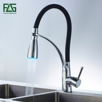 FLG Black And Chrome Finish Kitchen Sink Faucet Deck Mount Pull Out Dual Sprayer Nozzle Hot
