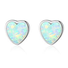 Love Heart Fire Opal Earrings for Women Blue White Stud Earrings Opal Stone Female Earring 925 Silver Jewelry 2Pairs chanti international silver rare blue fire rainbow moonstone large stud earrings 2 2 cm