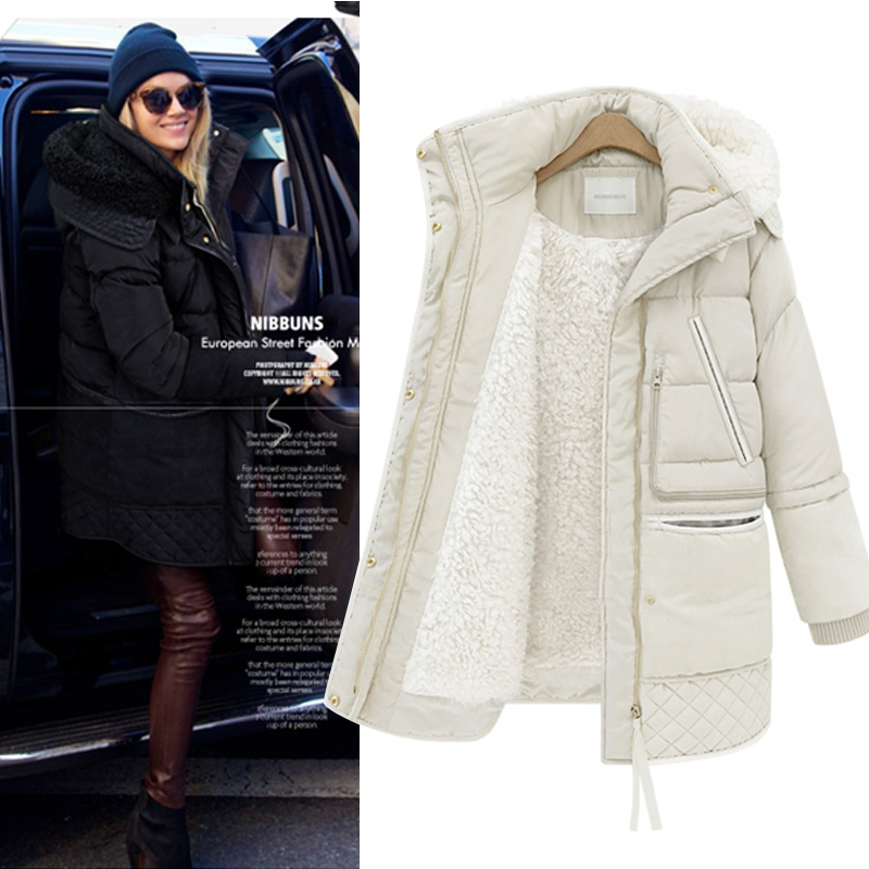 New Autumn Winter Thick White Duck   Down     Coats   Women Spliced lambswool Hooded Jacket Slim Argyle Windproof Pocket Overcoats Mw456