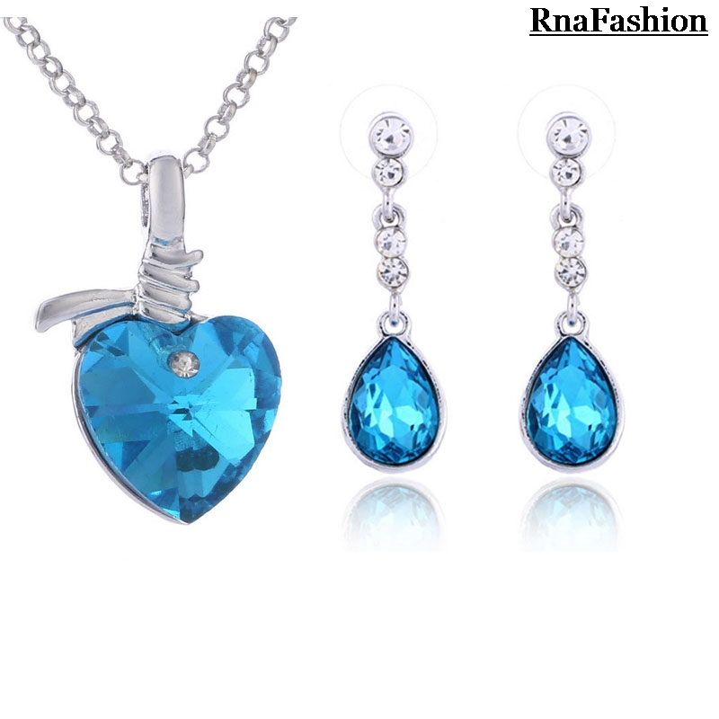 New 2014 Wholesale Jewerly Sets Heart Crystal Pendant Necklace Made from crystal element & Water Drop Earring SIlver Plated