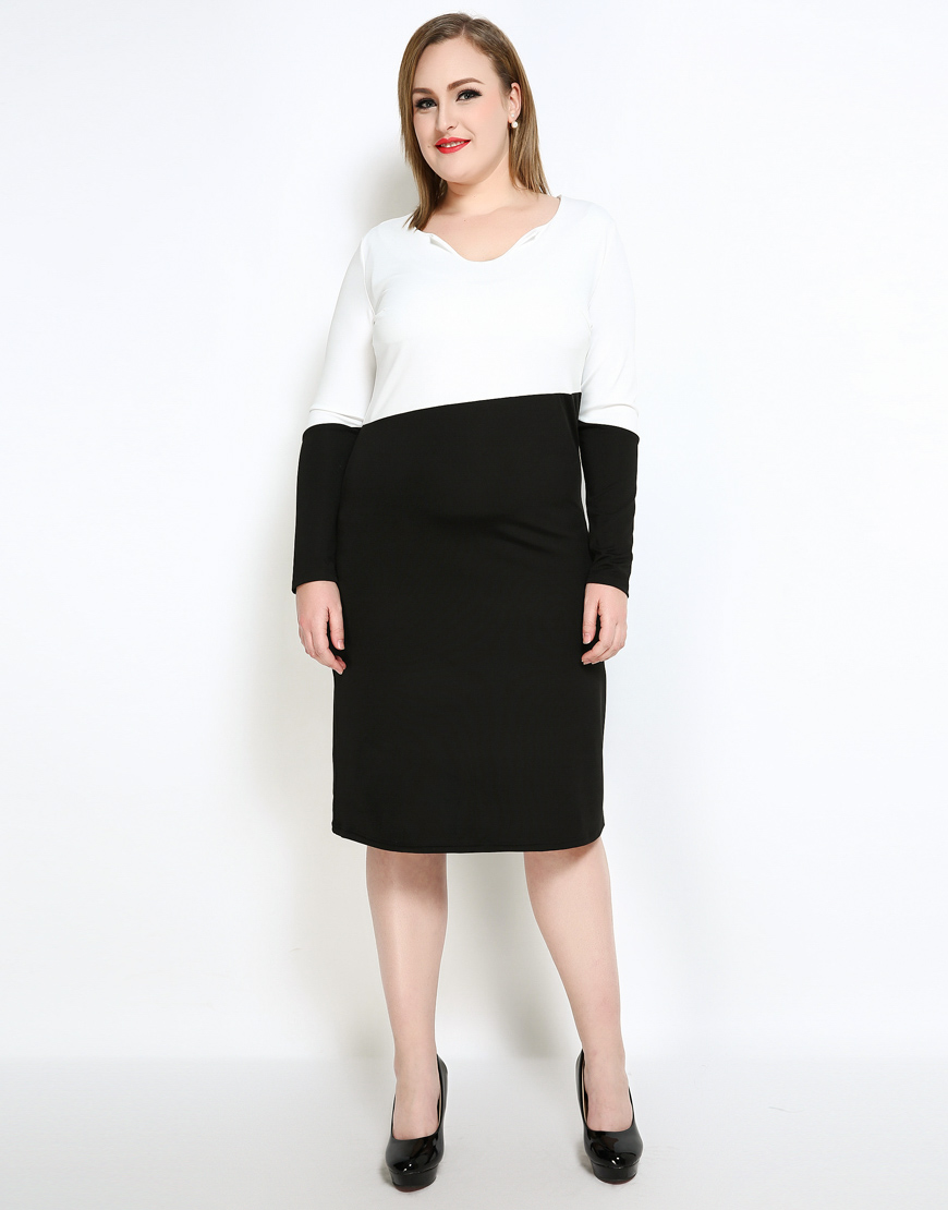 1f34d1cfde0 Cute Ann Women s Plus Size Cocktail Party Dress Color Blocked Long Sleeve  Semi Formal Casual Midi Dress Spring Autumn Wear-in Dresses from Women s  Clothing ...