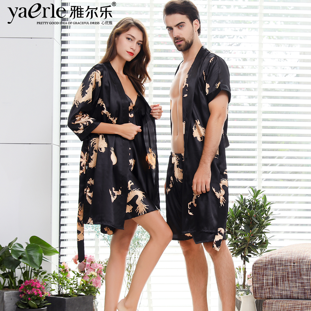 Men Silk Robe Gown Suits Set Shorts Short Sleeve Robe With Dragons Mens Satin Bathrobe Silk Kimono Couple Summer Pajamas Tmall