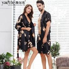 Men Silk Robe Gown Suits Set Shorts Short Sleeve Robe With Dragons Mens Satin Bathrobe Silk Kimono Couple Summer Pajamas Tmall