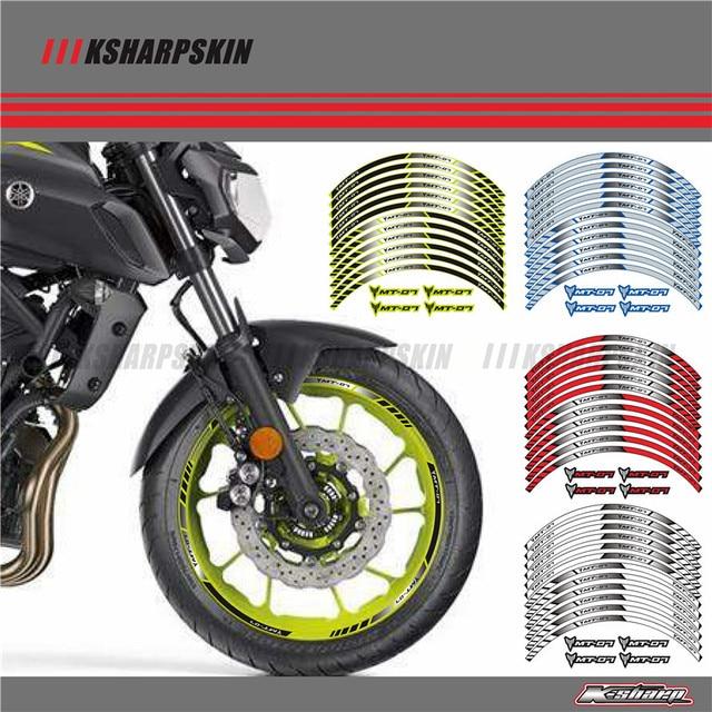 12 X Thick Edge Outer Rim Sticker Stripe Wheel Decals FIT YAMAHA MT07 MT-07