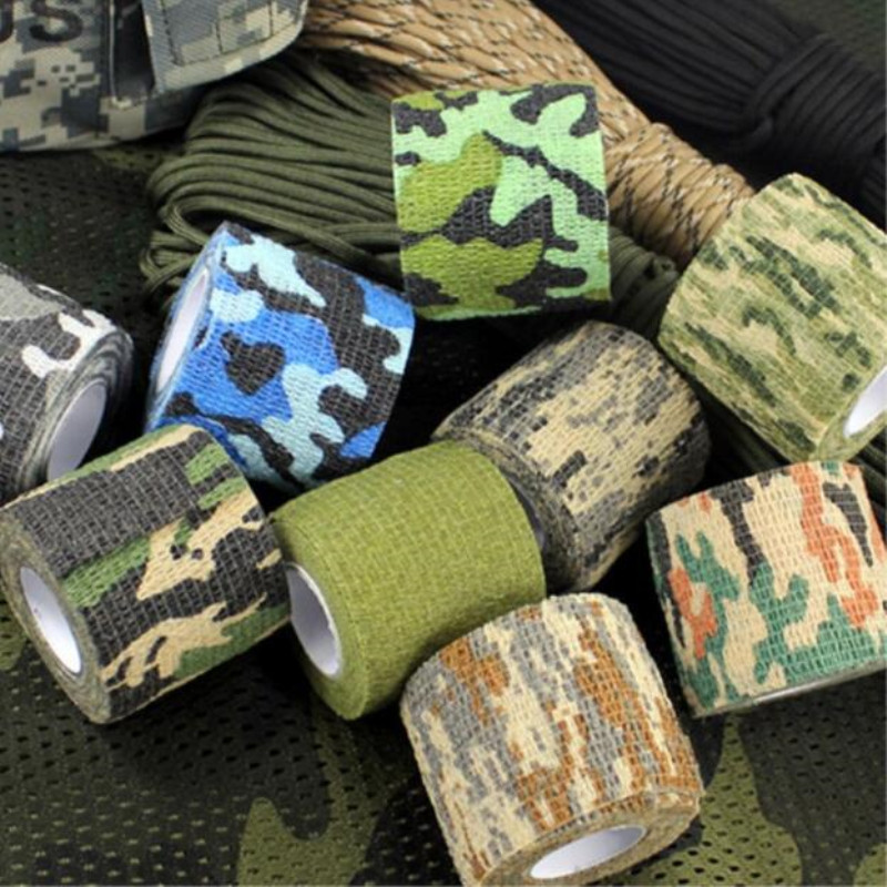 5cmx4.5m Camping Camo Outdoor Hunting Tool Camouflage Stealth Tape Waterproof Wrap Durable Army Safety First Aid Tool