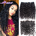 Ali Moda Malaysian Virgin Hair Water Wave With Lace Frontal Closure Malaysian Virgin Hair 4 Bundles With Frontal Closure