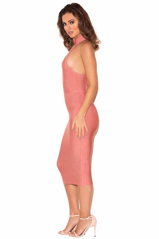 Новое Кружевное переднее розовое Бандажное платье с открытой спиной до колена без рукавов Женская одежда облегающие вечерние Клубные платья