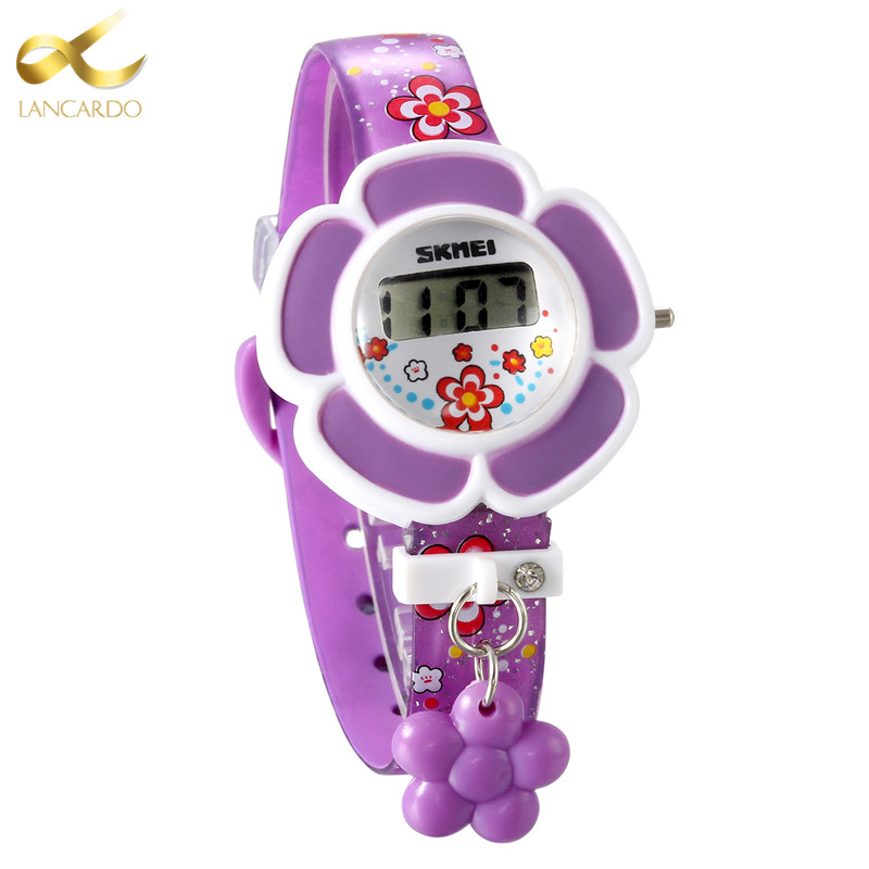 Lancardo Hot Sale Purple Flower Children Watch Fashion Casual Quartz Wristwatches Kids Clock Girls Students Silicone Wristwatch
