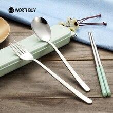 WORTHBUY Stainless Steel Korean Dinnerware Set Wheat Straw Cutlery Set Portable Outdoor Travel Picnic Kids Tableware Dinner Set