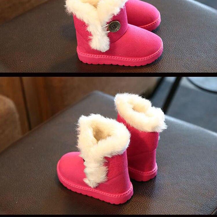 1_04Childrens boots, plush snow boots, non-slip, waterproof, warm, rubber, suede, boy, girl, children, shoes, outdoor thickening, winter