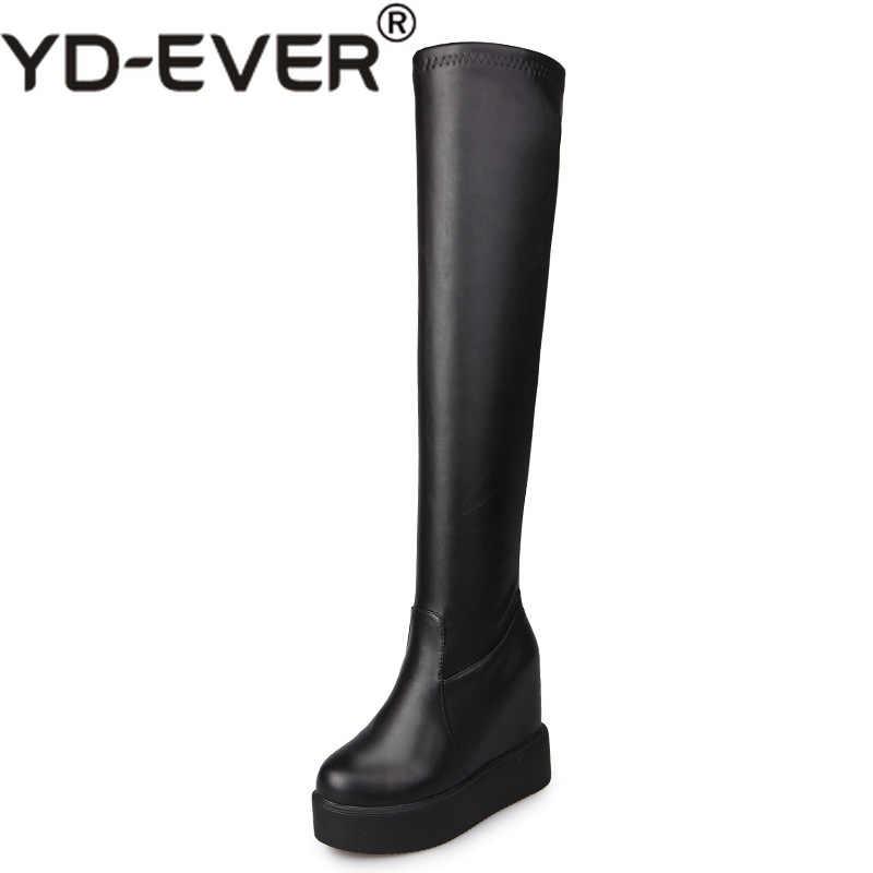 YD-EVER Kadın Sonbahar Yüksek Çizmeler Platformu Diz Kadın Moda Çizmeler Kış sıcak Kar Botları Ayakkabı Gizlenmiş Kama Bayan çizmeler