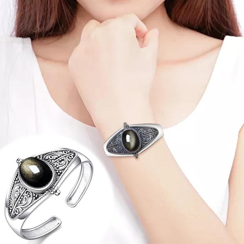 2019 Bracelet en pierre obsidienne dorée S925 Yintai mosaïque bouche réglable certificat boîte-cadeau