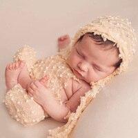 Newborn Bonnet Photography Hat And Pants Set Hand Knitted Baby Romper Newborn Photo Props Newborn Gift