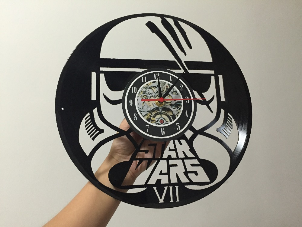Clocks Free Shipping 1 Piece Star Wars 7 Stormtroopers Vinyl Record Modern Gramophone Wall Clock Recording Time Clock Novelty Creative With The Best Service Home & Garden