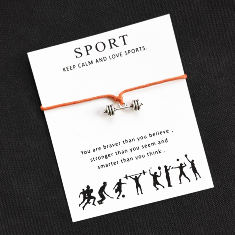 Silver Barbell Charm Brecelets Sports Wish Card Bracelets Wax Rope Jewelry For Man And Woman 10pcs/lot