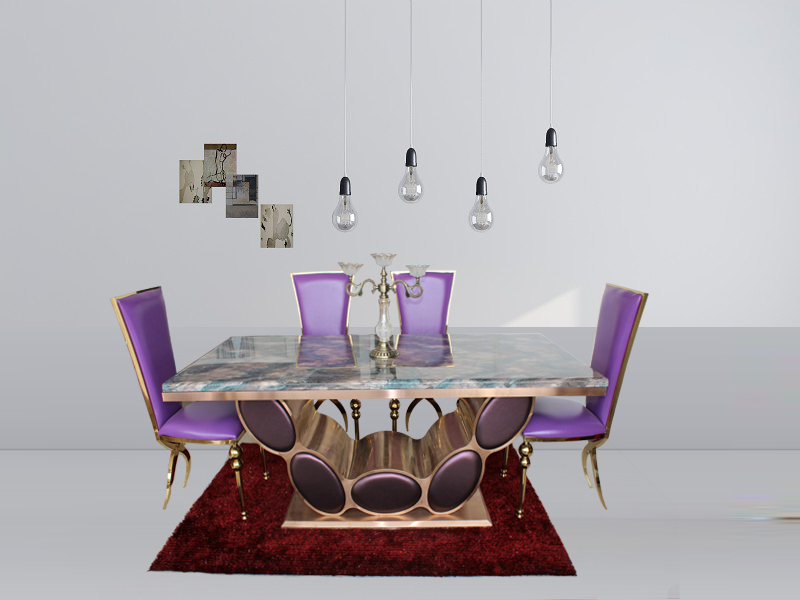 Good Quality Marble Dining Table Dining Table Set With Rose Gold Color 4  Chairs In Dining Tables From Furniture On Aliexpress.com | Alibaba Group