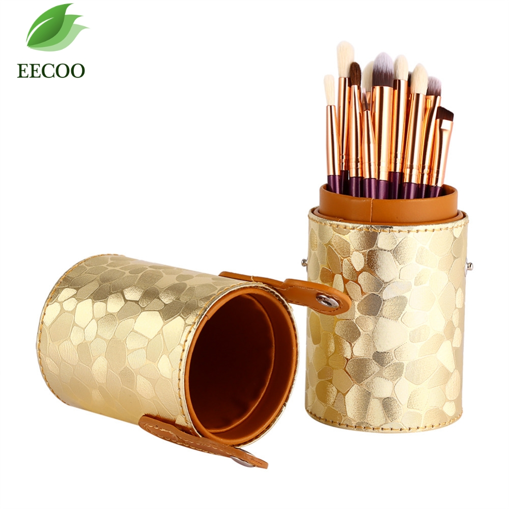 1pc <font><b>Gold</b></font> Professional Empty Portable <font><b>Makeup</b></font> Brush Round Pen Holder Storage Cosmetic PU Leather <font><b>Cup</b></font> Container Solid Case Hot Sale