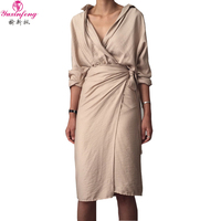 Yuxinfeng Autumn Slim Waist Wrapped Dress Women Sexy Lapel V Neck Long Sleeve Solid Casual Ladies Cotton Linen Shirt Dresses