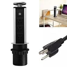Retrátil Pop Up Tomada 3 EUA Plug And 2 USB portas de Saída Segura Para Cozinha do Agregado Familiar Do Escritório Eletrônica e Qualquer USB dévico