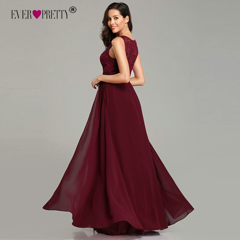 84027aee8ad21 US $21.24 49% OFF|Elegant Prom Dresses Long 2019 Ever Pretty EZ07695  Women's Sexy A line Sleeveless O neck Chiffon Lace Cheap Evening Party  Gowns-in ...