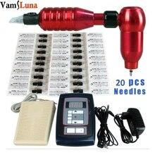Permanent Make Up Tattoo Kits Digital Pen Tattoo Maschine + Tattoo Versorgung + Fuß Pedal + 20 Nadeln Für Augenbraue lippen Tattoo
