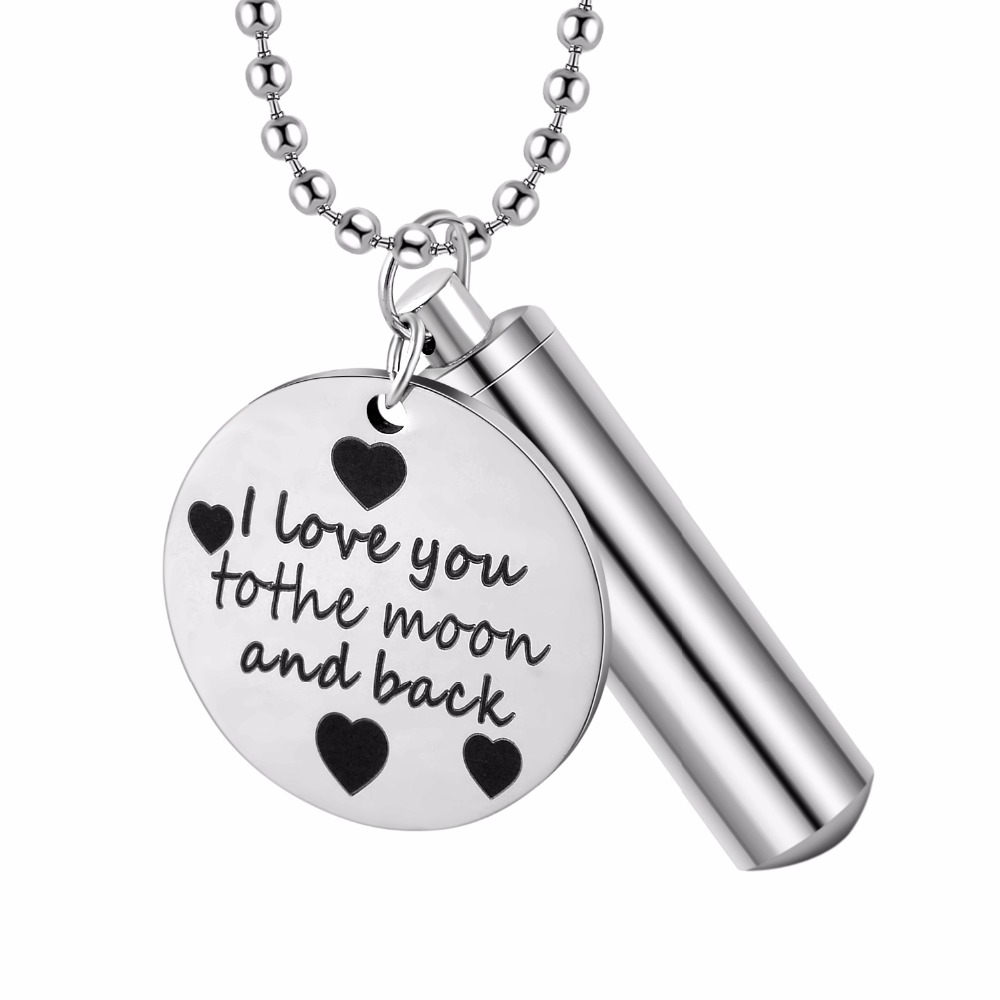 Stainless Open Pill Container Tube Memory Holder Bottle Pendant Necklace 18-26/'/'