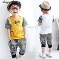 2017 Летние мальчики установить детские наборы короткая майка + брюки 2 шт. комплект одежды детей костюм 3-11 лет дети хлопок Одежда