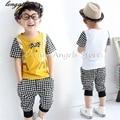 2017 Verão meninos set bebê define t shirt + calças curtas 2 pcs set roupas crianças terno 3-11 anos crianças Roupas de algodão