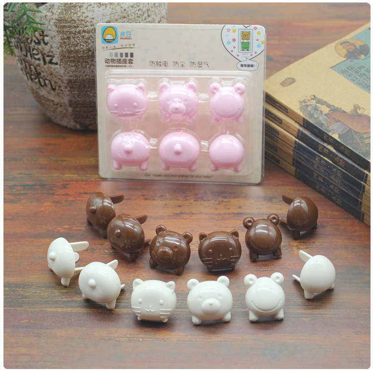 6pcs/set Cute Animals Children Electrical Safety Protective Socket Cover Caps 2/3 Phase Baby Security Product Sets Euro Standard
