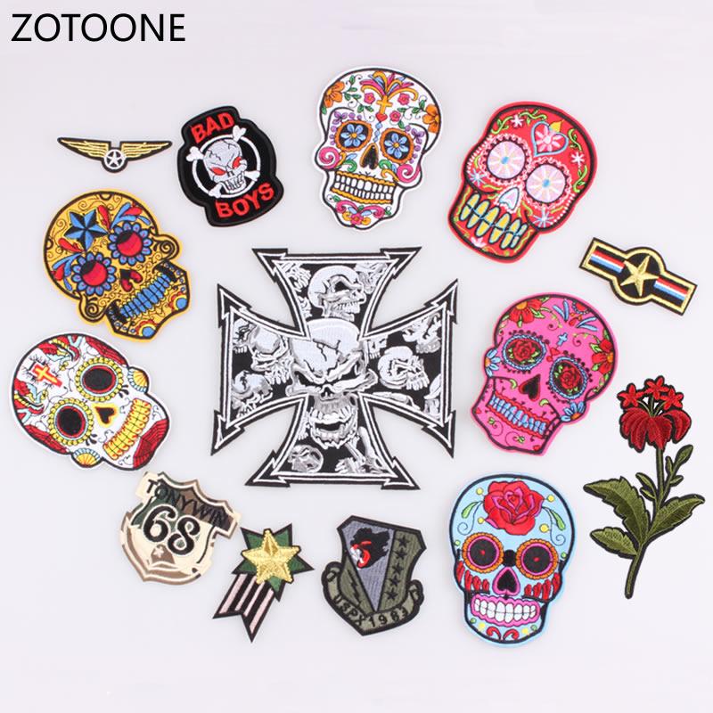 Venta caliente Punk Rock cráneo mexicano hierro de parche en vuelos ...