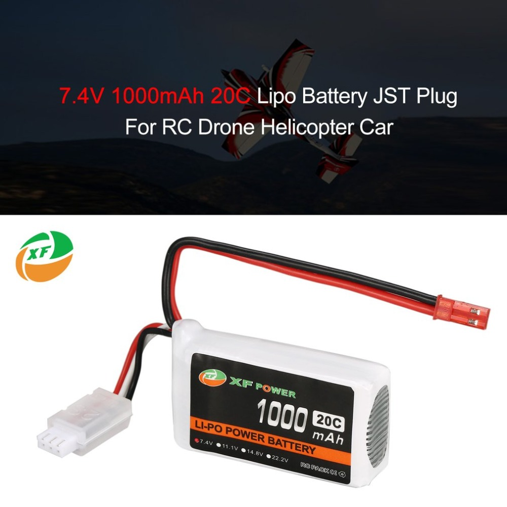 XF POWER 7.4V 1000mAh 20C 2S 2S1P Lipo Battery JST Plug Rechargeable For RC FPV Racing Drone Helicopter Car Boat Model Toys image