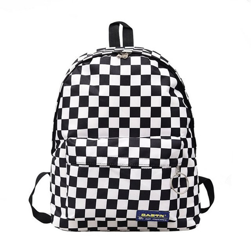 Backpack Travel-Bag Couples Checkerboard Teenager New-Trend Unisex Women Lattice Hot-Sale