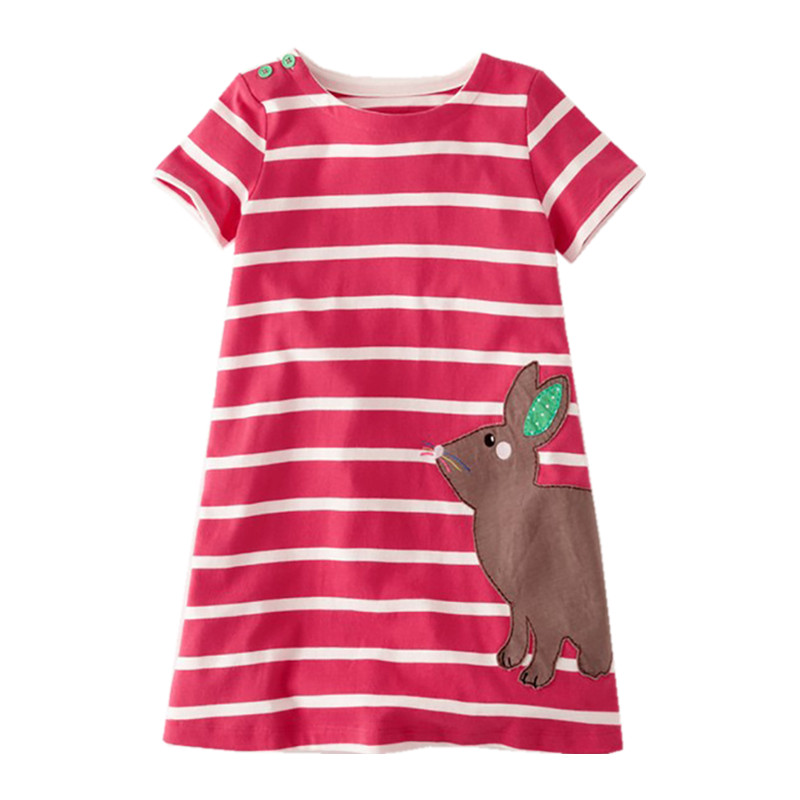 Little Maven Brand New Girls Summer Short O-neck Fashion Cute Striped Rabbit Quality Cotton Casual Knitted Mini Dresses little maven brand new girls autumn spring long sleeved o neck fashion rabbits printed cotton cute casual dresses