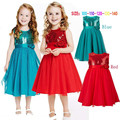 Princess Dresses For Teens Baby Girls Sequins Ball Gown Evening Party Dress Infant Children's Sleeveless Red Dress Kids Clothes