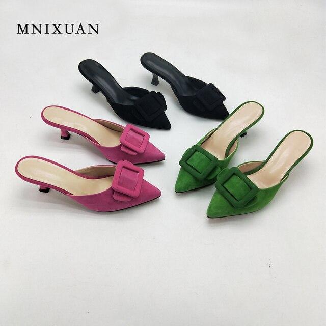 Женские шлепанцы MNIXUAN, зеленые туфли на тонком каблуке 5 см с острым носком, новинка 2018