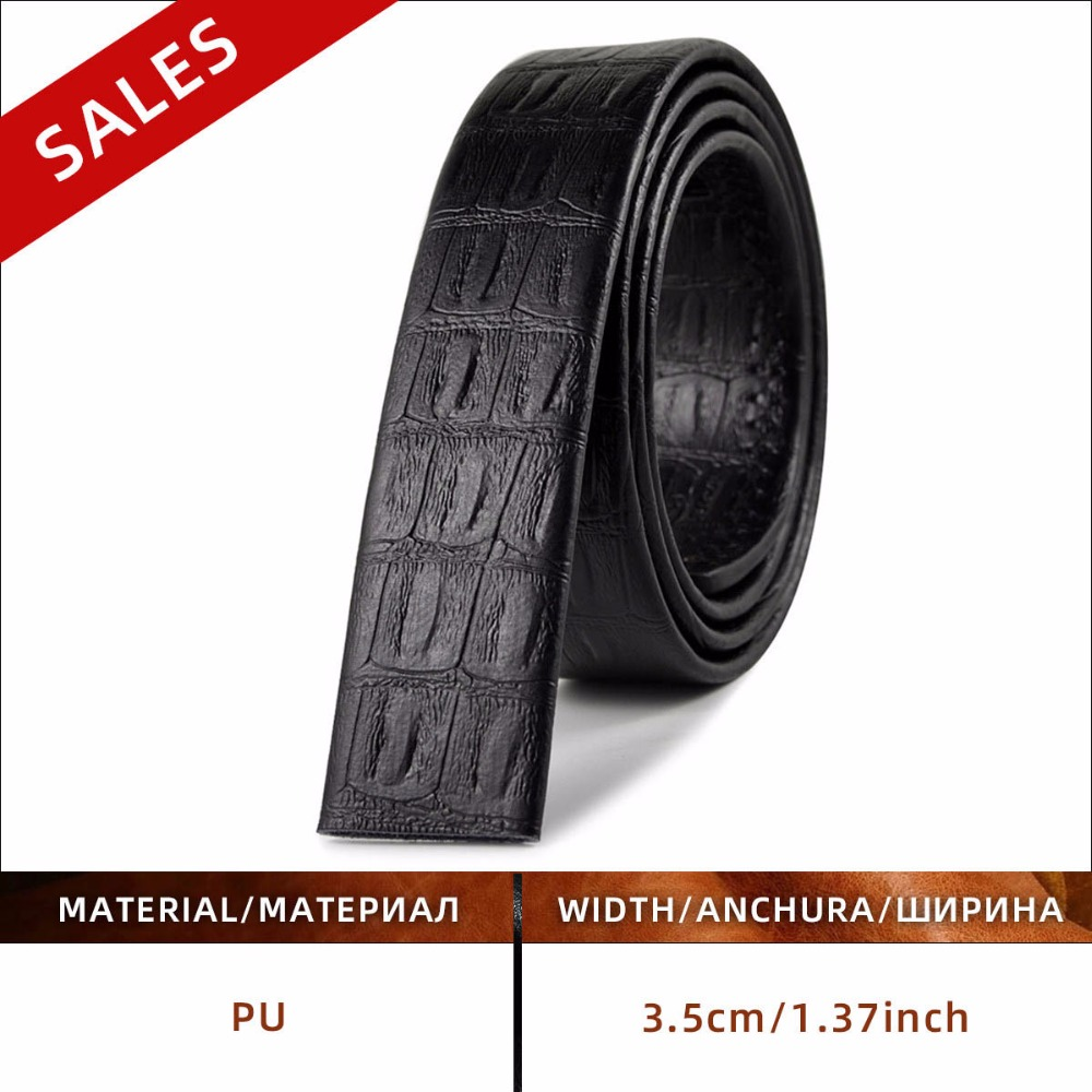 [JACNAIP]  No Buckle 3.5cm Wide Real Genuine Leather Belt Without Automatic Buckle Strap Designer Belts Men High Quality