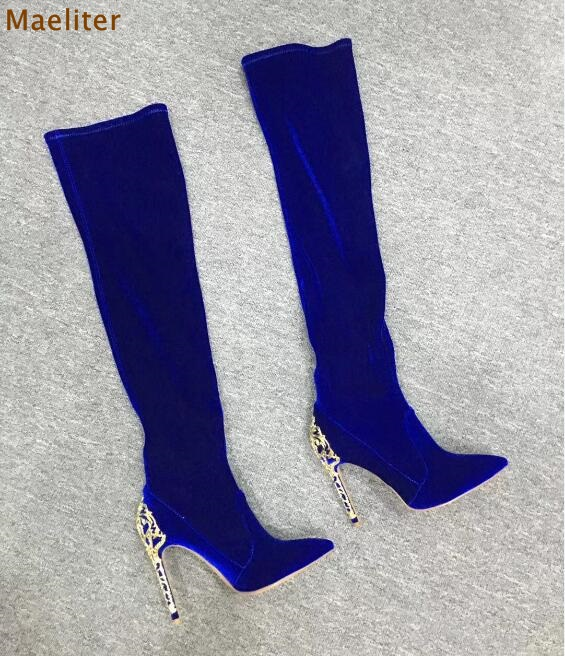 Women Luxurious Royal Blue Black Suede Metal Heel Boots Pointed Toe Cut-out Heels Dress Boots Over-the-knee Boots Thigh High black stretch fabric suede over the knee open toe knit boots cut out heel thigh high boots in beige knit elastic sock long boots