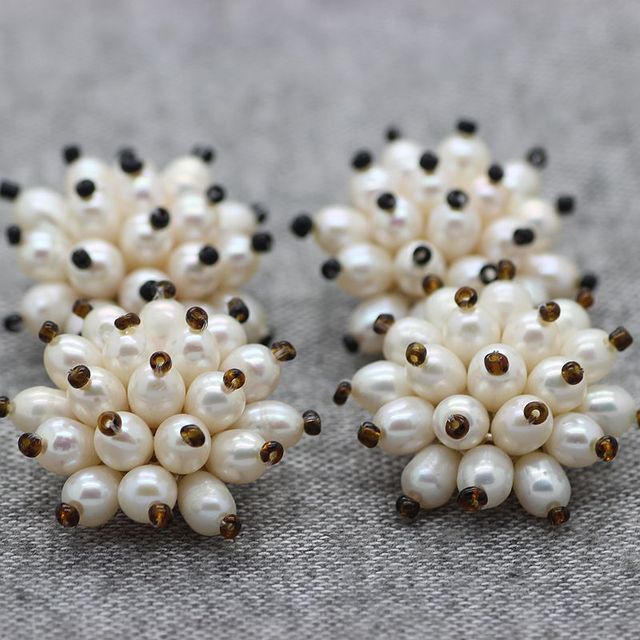 100 Natural Pearl Earrings Clic Small Rice Ear Clip Korea Vintage Bride