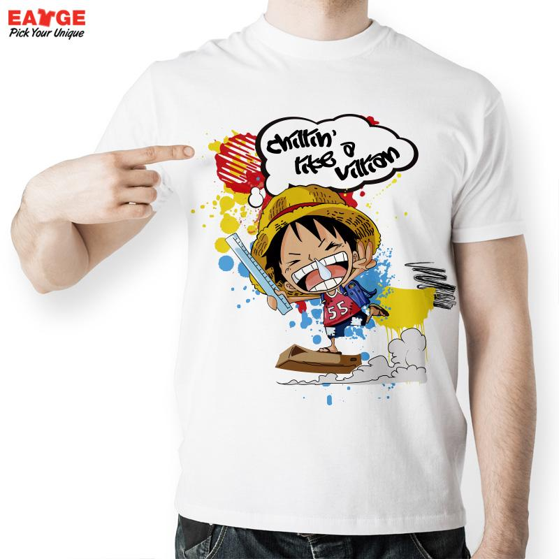 [EATGE] Funny One Piece Anime Luffy T Shirts Men Fashion Summer Style Brand T-shirts White Short Sleeve Printed Couple shirt