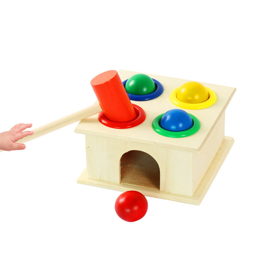 Musical Instruments Colorful Small Wooden Hammer Cartoon Sand Ball Knock Wooden Bell Baby Educational Toys Kids Best Gift Punctual Timing