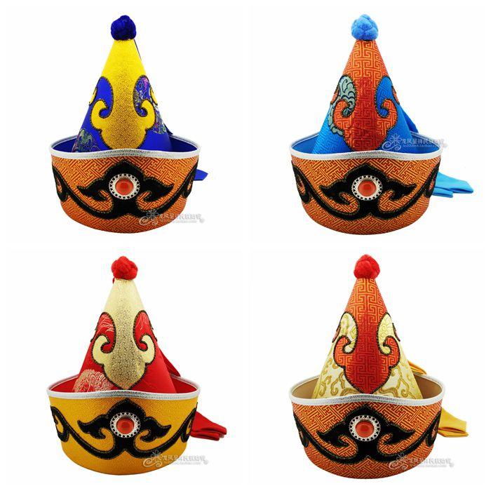 Mongol mâle chapeau pointu haut casquette minorité chapeau Prince de mongolie scène de danse pointu extrémité Folk chapeau