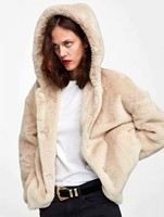 Europe and America 2018 autumn new product leisure rabbit hair Hooded Coat 1733