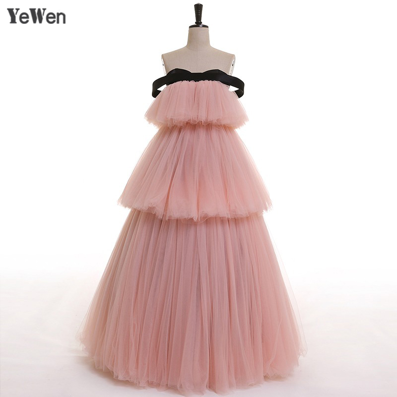 YeWen 2019 Off The Shoulder Cake Shape Pink Sexy A line Tulle Ball Gown Evening Dress Prom Dresses Vestido De Noiva Real Picture