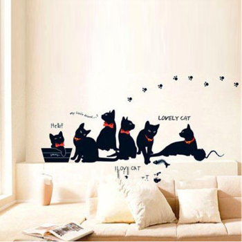 Vinyl Wall Stickers Wallpaper Animal Cartoon Black Cat Family Living Room Sofa Wall Decals House Decoration Poster Home Decor 1