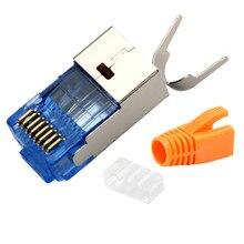 5 סט מחבר Rj45 Cat7 באיכות קריסטל ראש Lan כבל Adapter10Gb Ethernet כבל רשת 8p8c מתכת מיגון מודולרי Plug